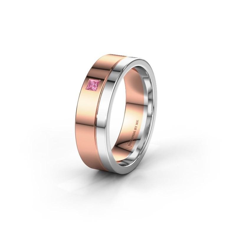 Trouwring WH0301L16APSQ 585 rosé goud roze saffier ±6x1.7 mm