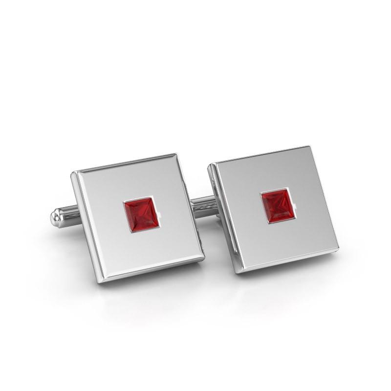 Cufflinks Givanti 585 white gold ruby 4 mm