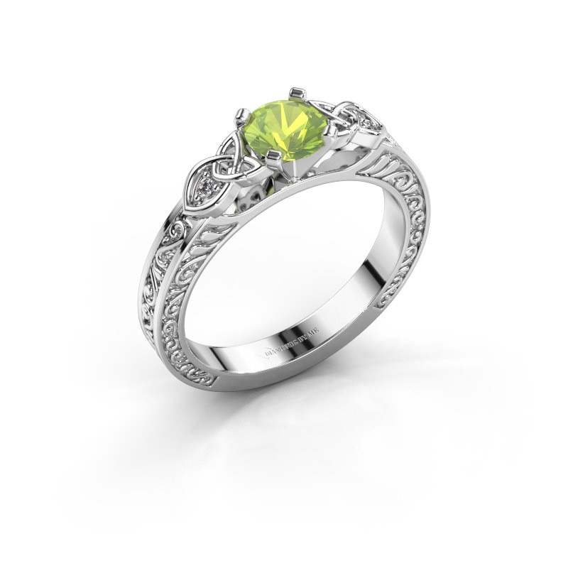 Engagement ring Gillian 585 white gold peridot 5 mm