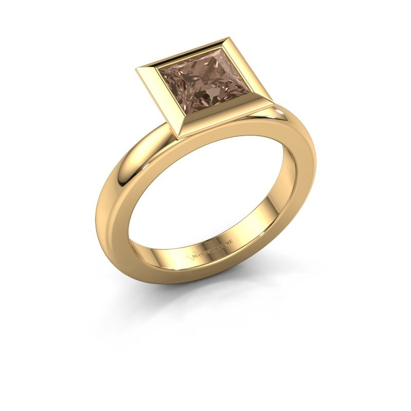 Stapelring Trudy Square 585 goud bruine diamant 1.30 crt