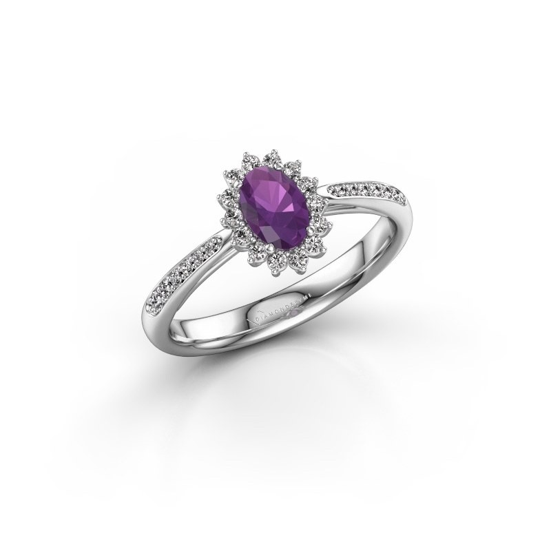 Engagement ring Tilly ovl 2 585 white gold amethyst 6x4 mm