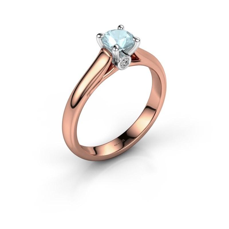 Verlovingsring Valorie 1 585 rosé goud aquamarijn 5 mm