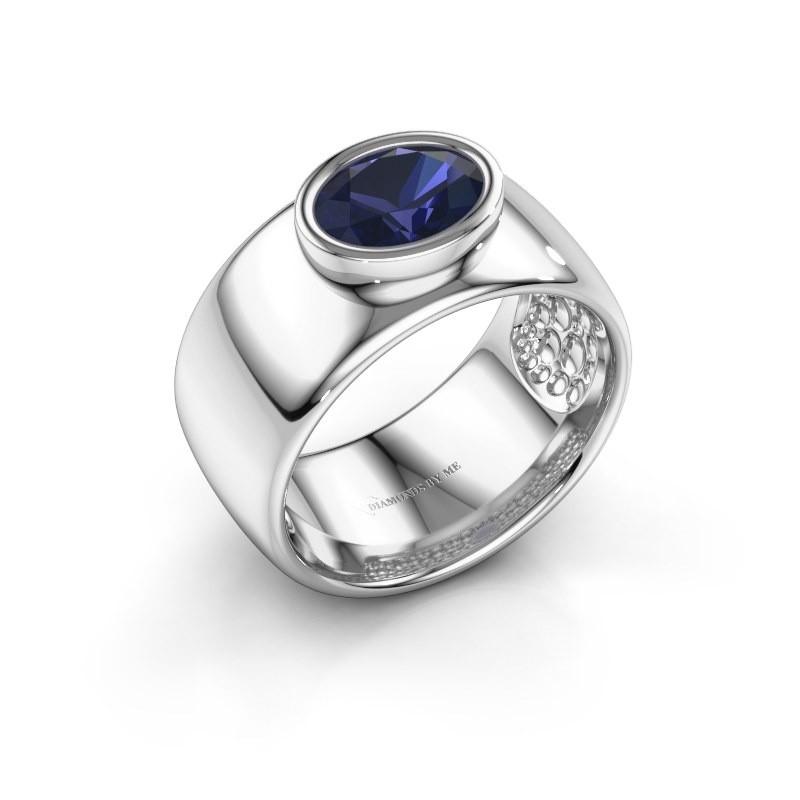 Ring Anouschka 925 zilver saffier 8x6 mm
