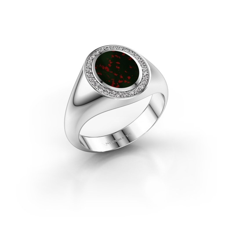 Pinky ring Adam 1 925 silver bloodstone 10x8 mm