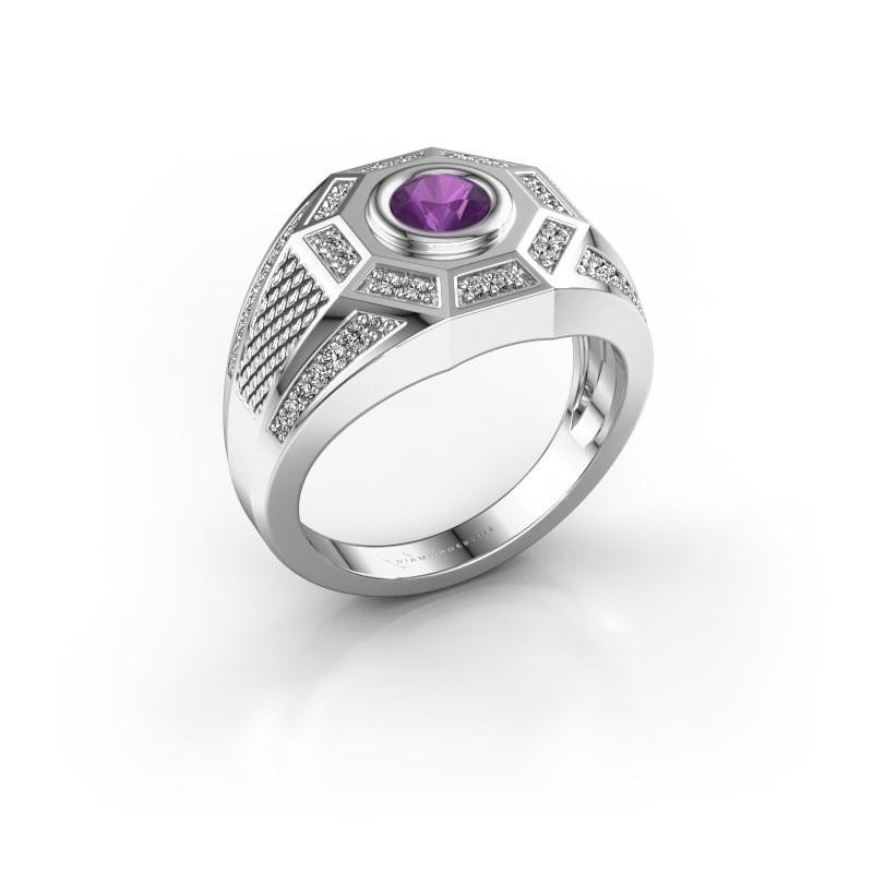 Heren ring Enzo 375 witgoud amethist 5 mm