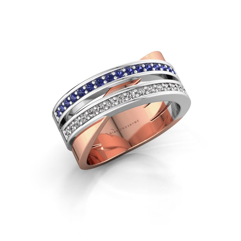 Ring Margje 585 rose gold sapphire 1.3 mm