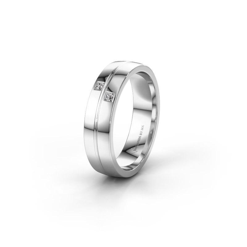 Trouwring WH0231L25BP 585 witgoud diamant ±5x2 mm