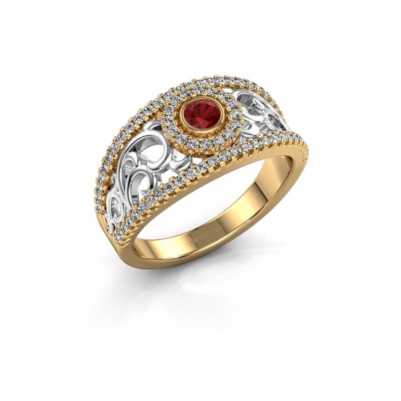 Verlovingsring Lavona 585 goud robijn 3.4 mm