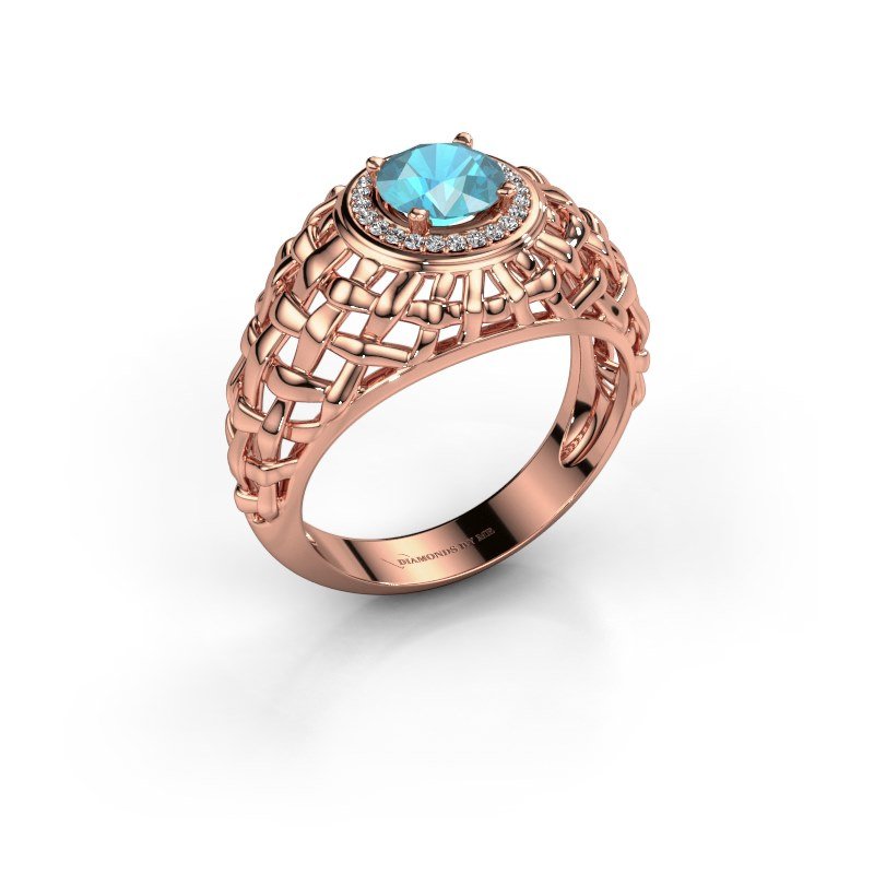 Pinky Ring Jens 585 Roségold Blau Topas 6.5 mm