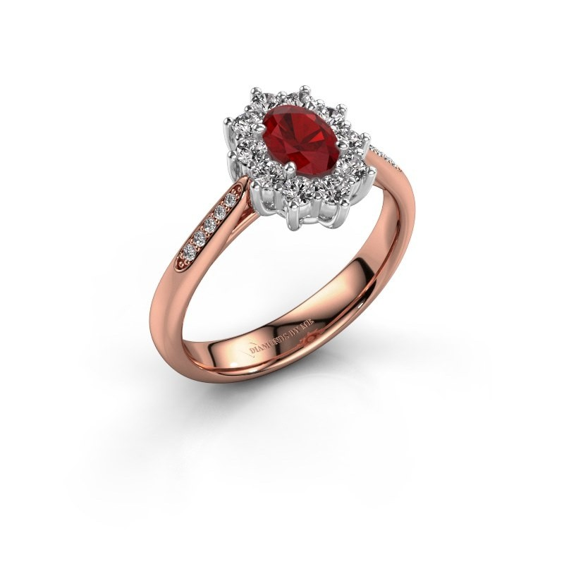 Verlovingsring Leesa 2 585 rosé goud robijn 6x4 mm