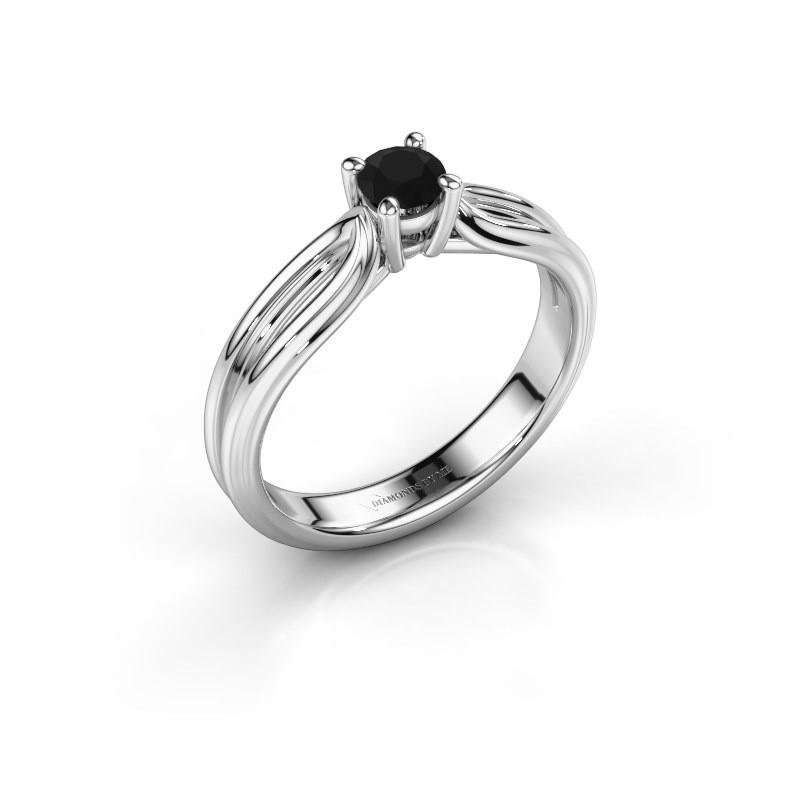 Verlovingsring Antonia 1 925 zilver zwarte diamant 0.30 crt