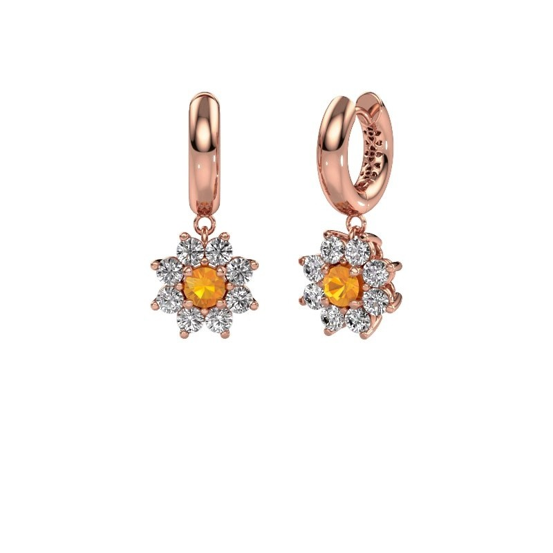 Drop earrings Geneva 1 375 rose gold citrin 4.5 mm