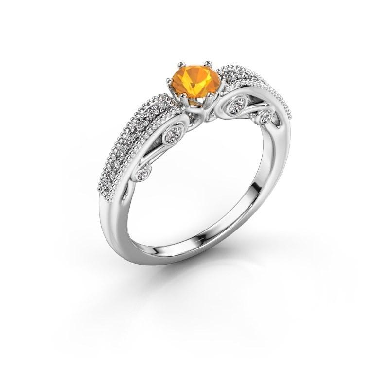 Engagement ring Christeen 585 white gold citrin 4.2 mm