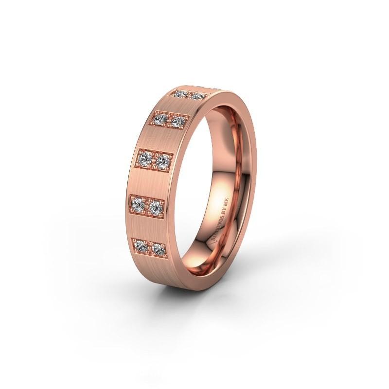 Trouwring WH2013L 375 rosé goud diamant ±5x2 mm