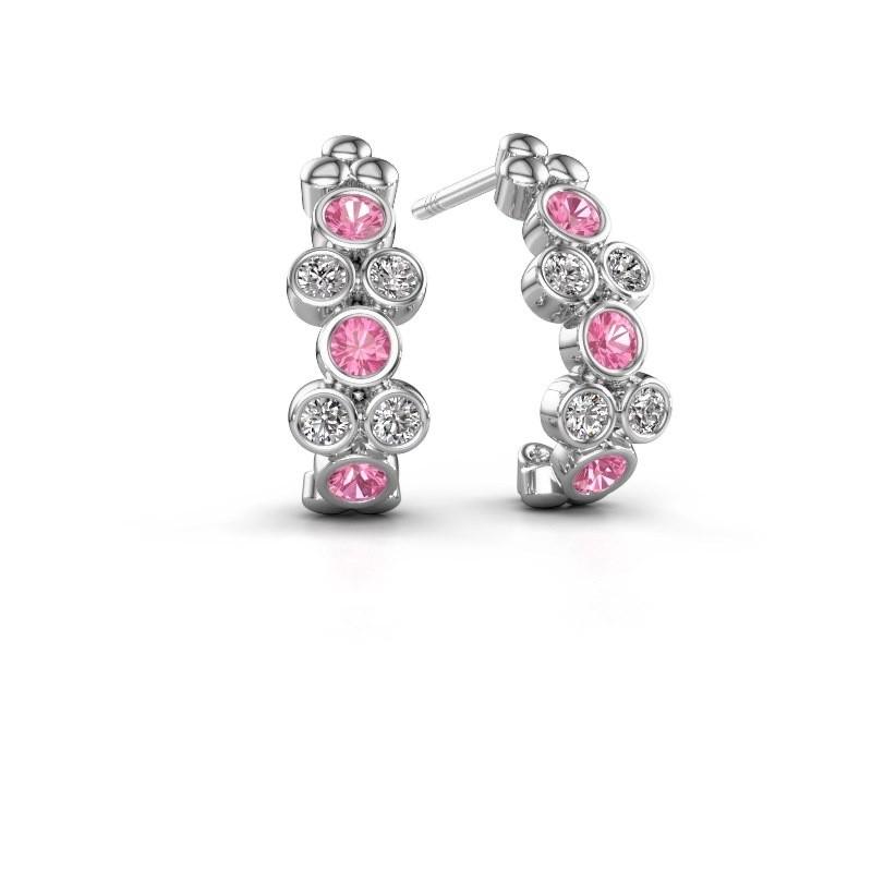 Earrings Kayleigh 950 platinum pink sapphire 2.4 mm