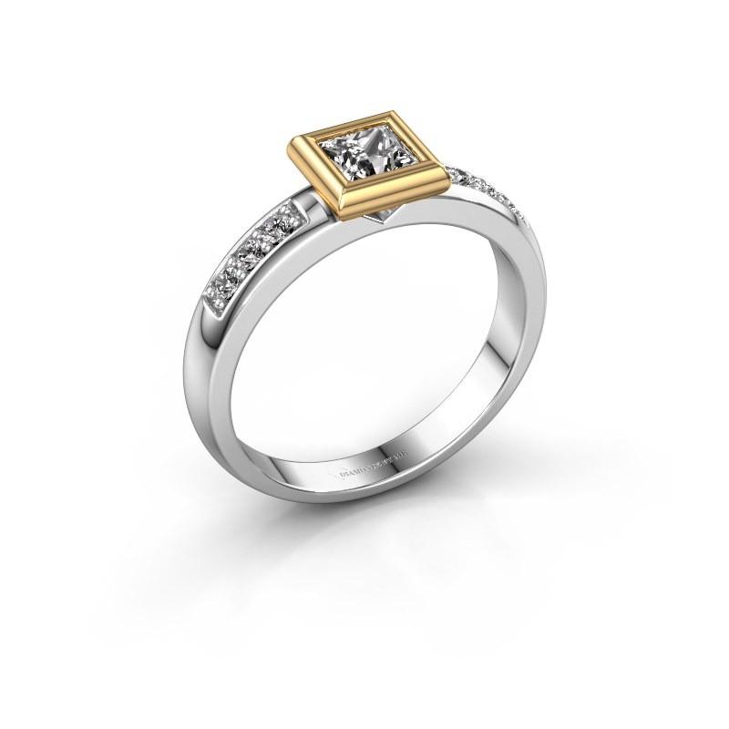 Steckring Lieke Square 585 Weißgold Diamant 0.52 crt