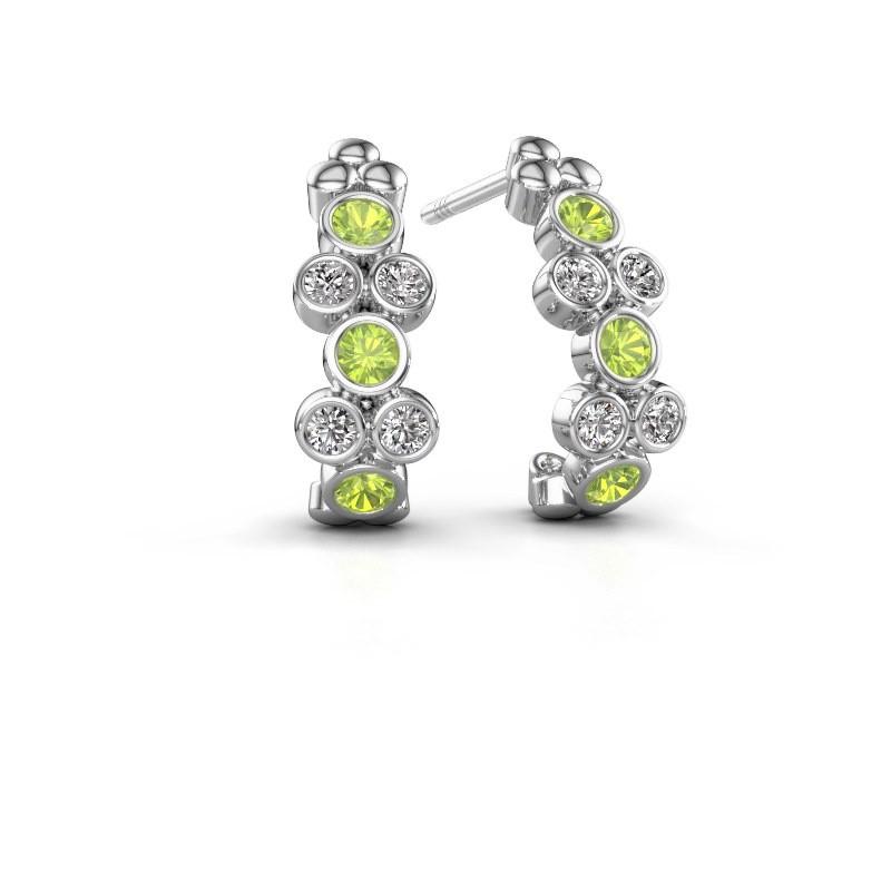 Earrings Kayleigh 950 platinum peridot 2.4 mm