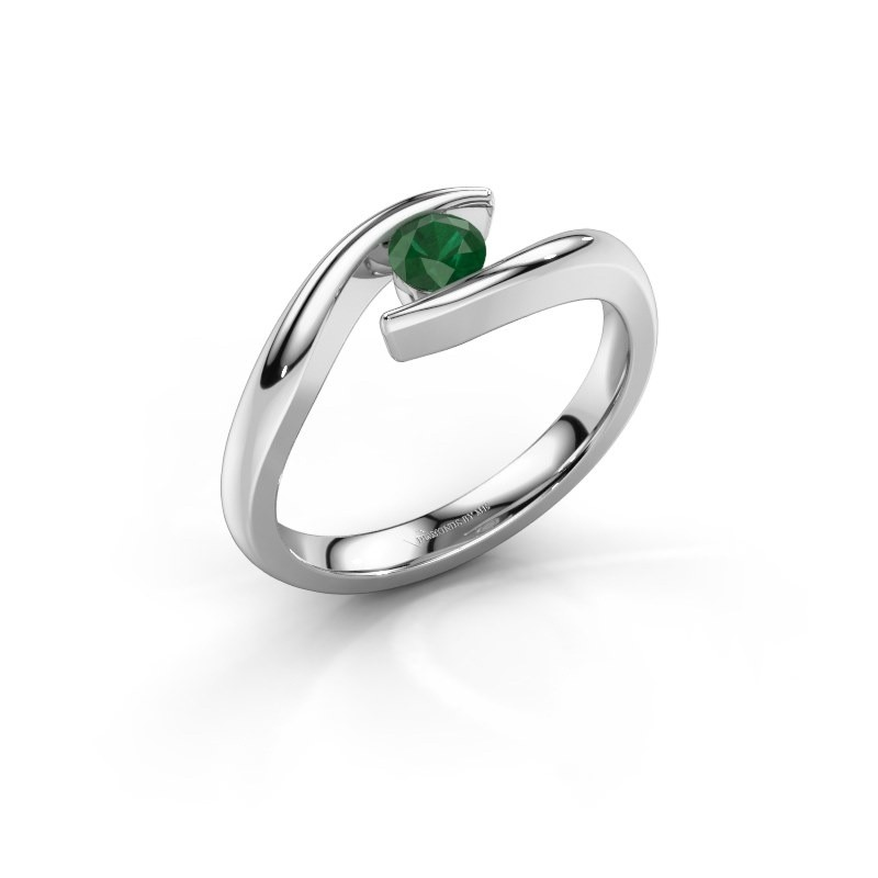 Emerald Modern Graceful White Gold Engagement Ring Alaina