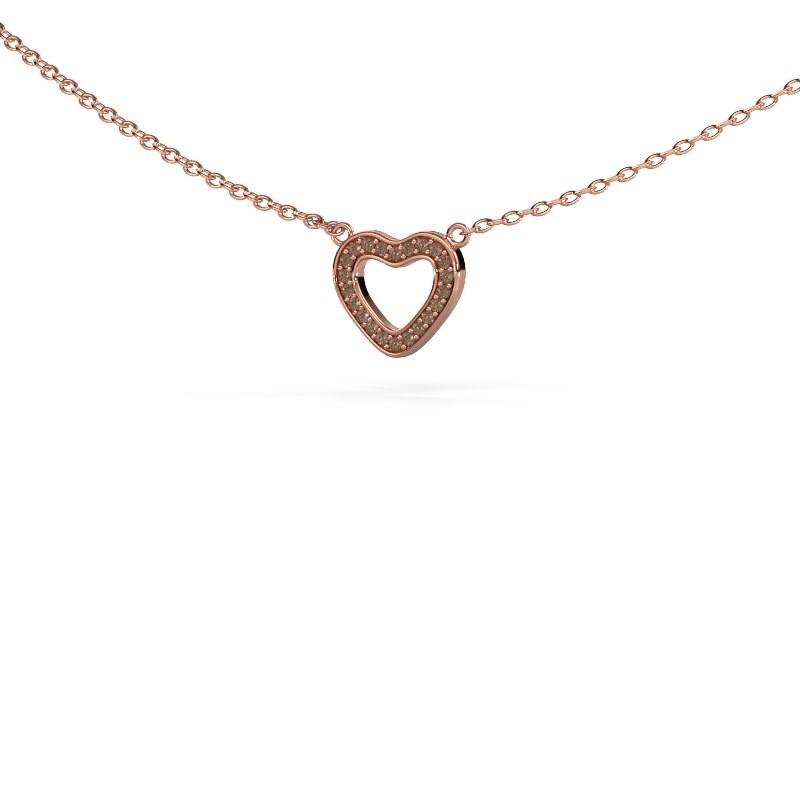 Hanger Heart 4 375 rosé goud bruine diamant 0.055 crt