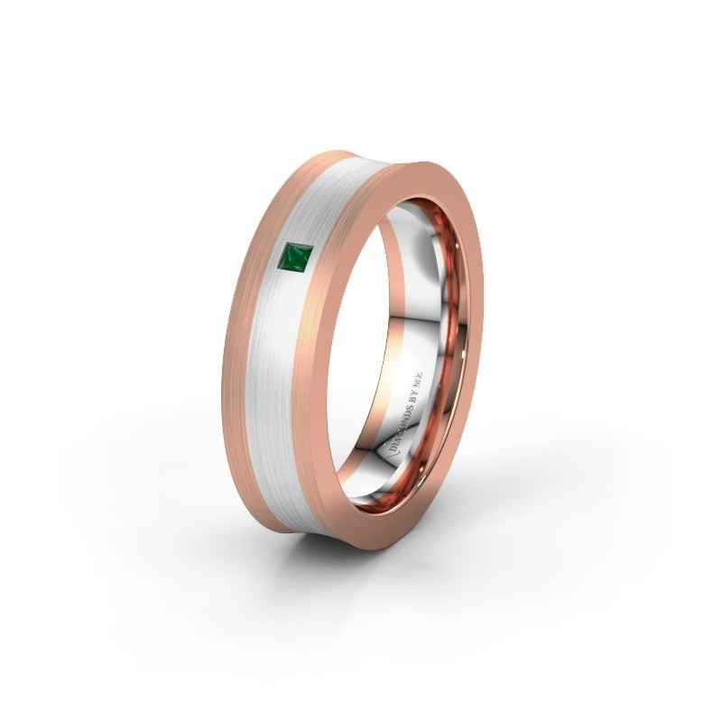 Wedding ring WH2238L2 585 rose gold emerald ±6x2.2 mm