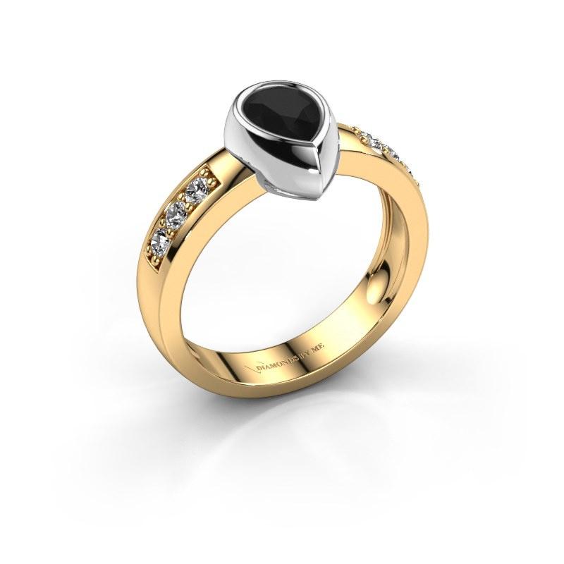 Ring Charlotte Pear 585 gold black diamond 1.08 crt