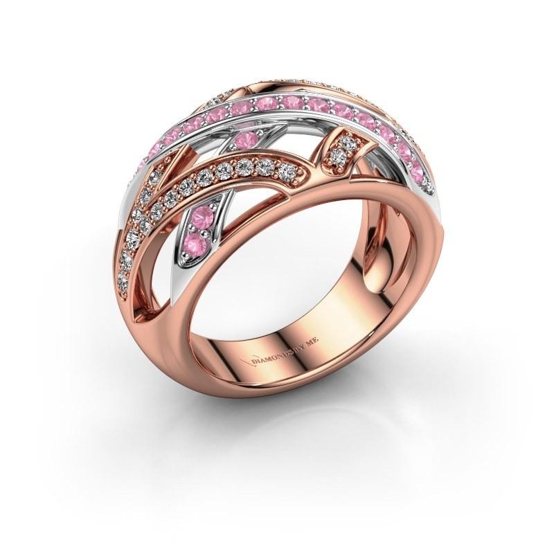 Ring Yinthe 585 rosé goud roze saffier 1.5 mm