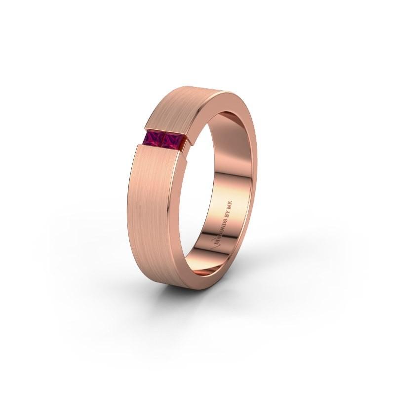 Wedding ring WH2136L15E 375 rose gold rhodolite ±5x2.6 mm