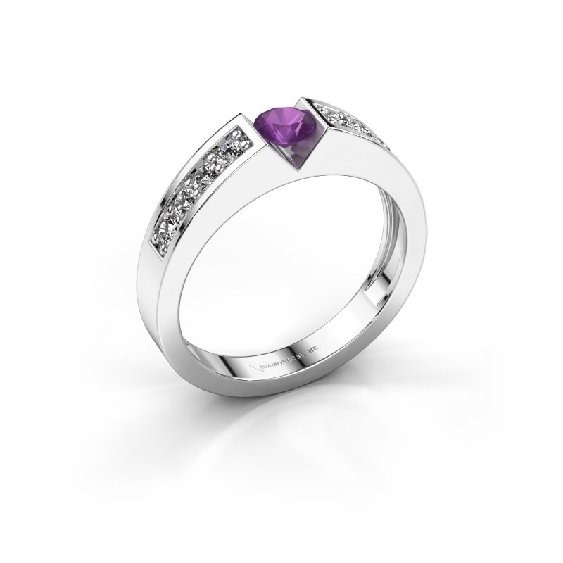 Engagement ring Lizzy 2 925 silver amethyst 4.2 mm