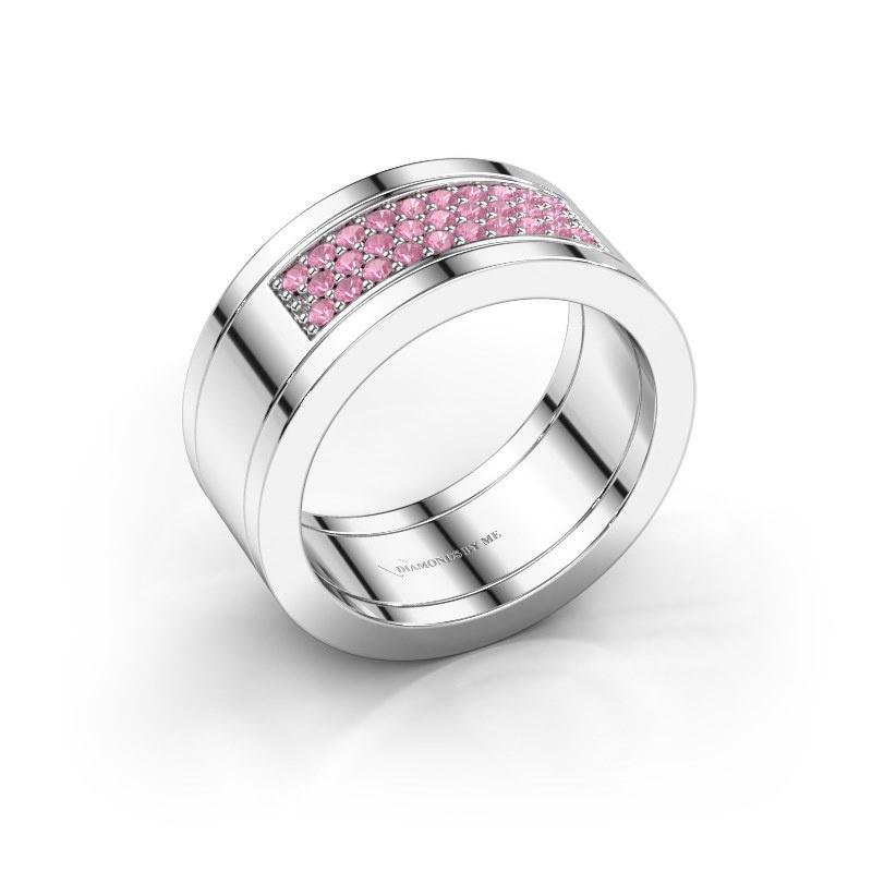 Ring Marita 3 925 zilver roze saffier 1.3 mm