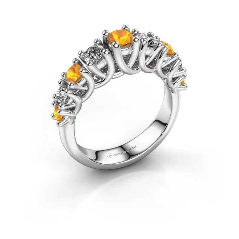 Engagement ring Fatima 585 white gold citrin 3.7 mm