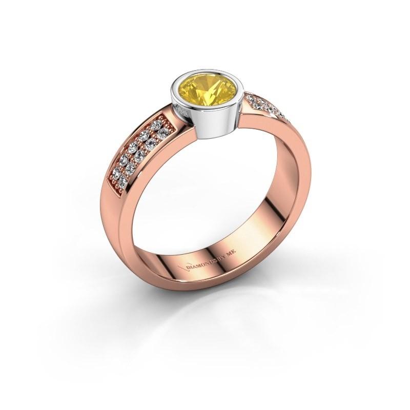 Verlovingsring Ise 3 585 rosé goud gele saffier 4.7 mm
