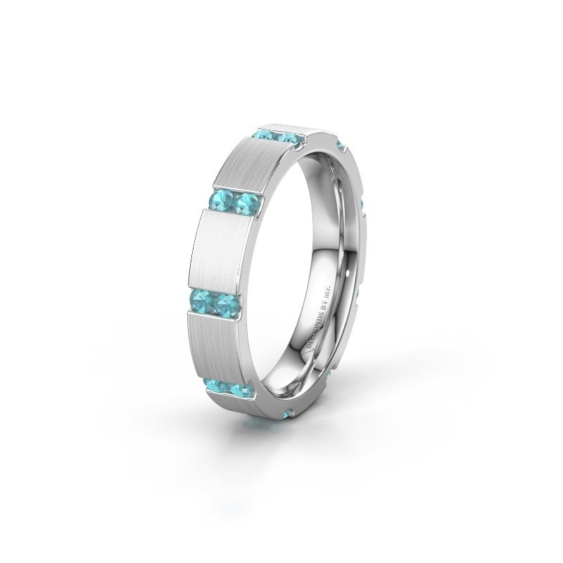 Huwelijksring WH2132L14BM 585 witgoud blauw topaas ±4x2.2 mm