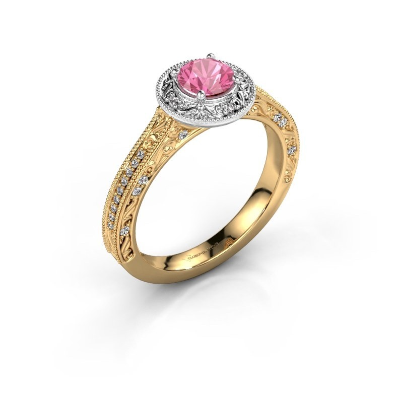Verlovings ring Alice RND 585 goud roze saffier 5 mm