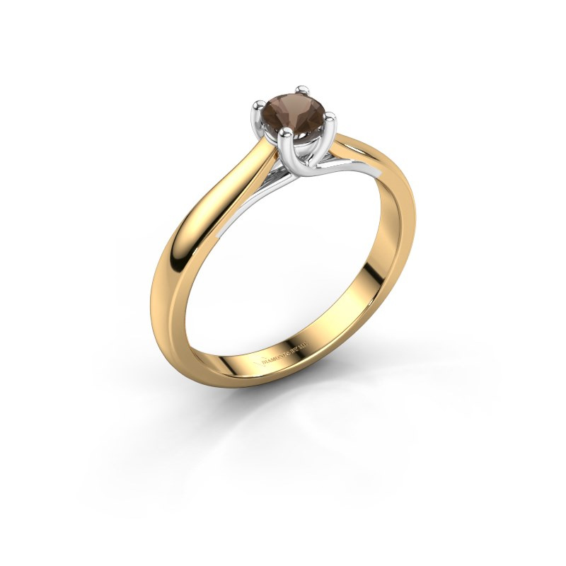 Engagement ring Mia 1 585 gold smokey quartz 4 mm
