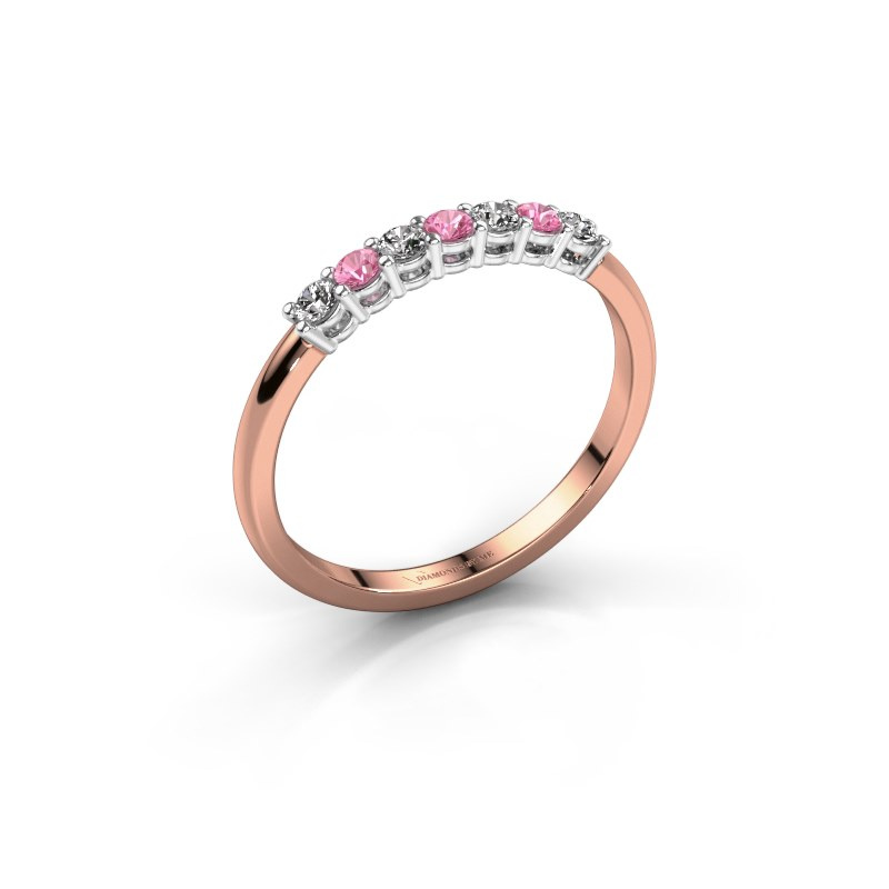 Engagement ring Michelle 7 585 rose gold pink sapphire 2 mm