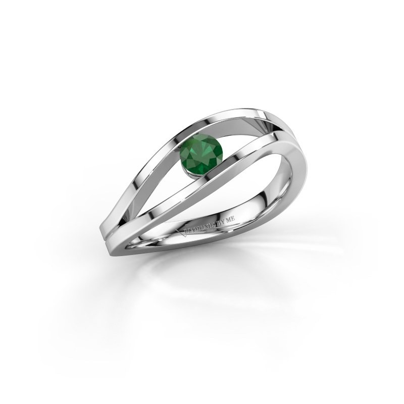 Engagement ring Sigrid 1 925 silver emerald 3.7 mm