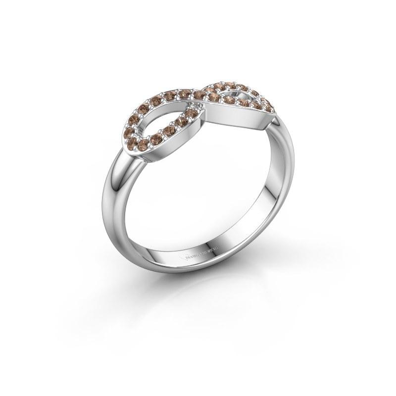 Ring Infinity 2 585 witgoud bruine diamant 0.188 crt