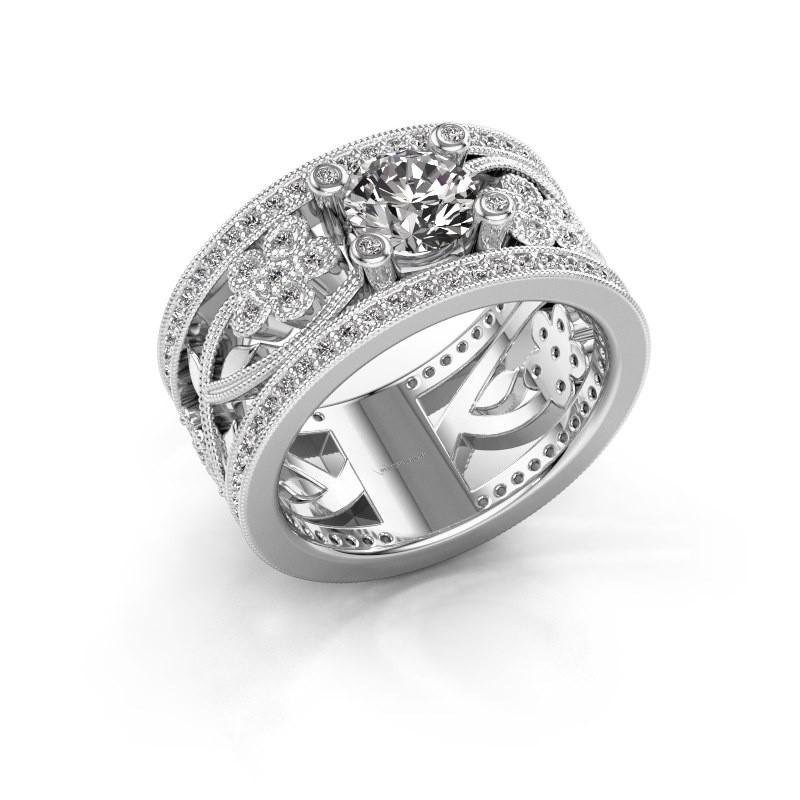 Ring Severine 585 witgoud zirkonia 6 mm