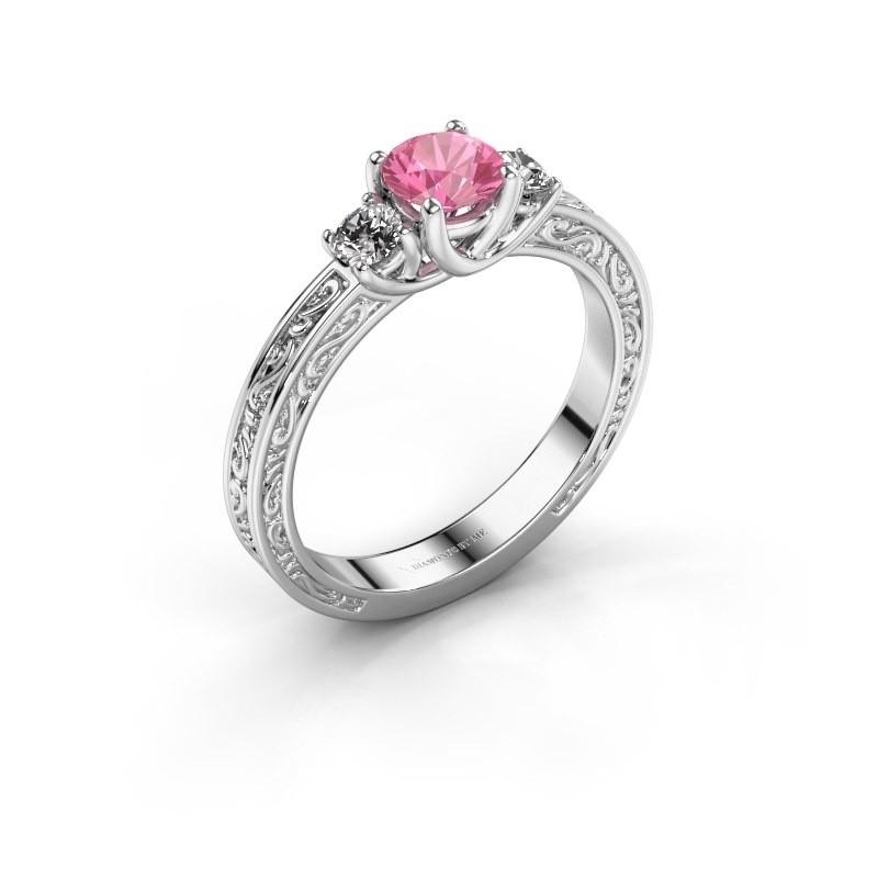 Verlovingsring Betty 1 950 platina roze saffier 5 mm