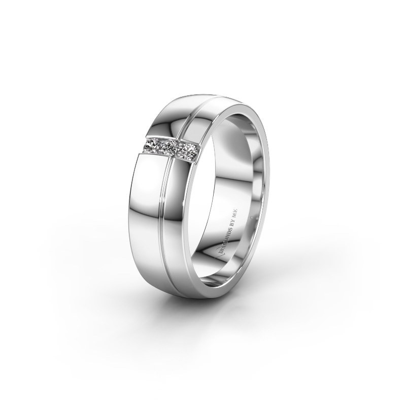 Trouwring WH0223L56A 585 witgoud diamant ±6x1.7 mm