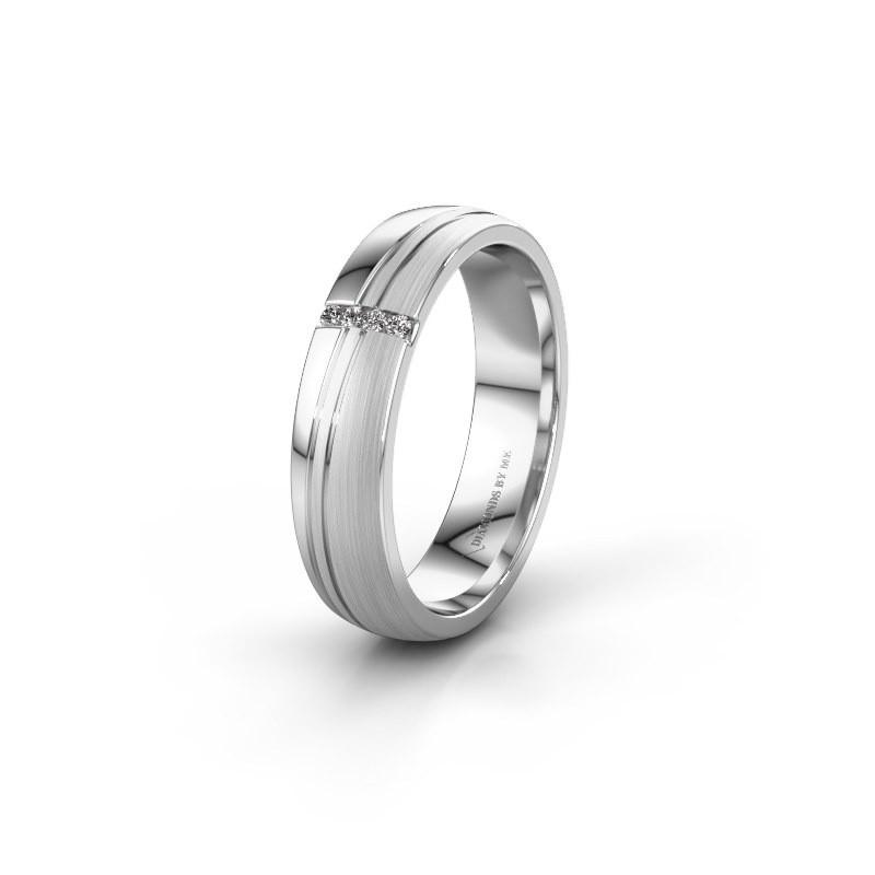 Huwelijksring WH0909L25X 585 witgoud zirkonia ±5x1.5 mm