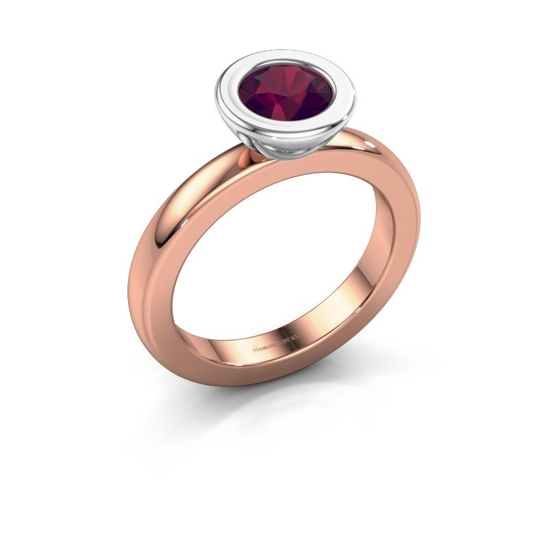 Stapelring Eloise Round 585 rosé goud rhodoliet 6 mm