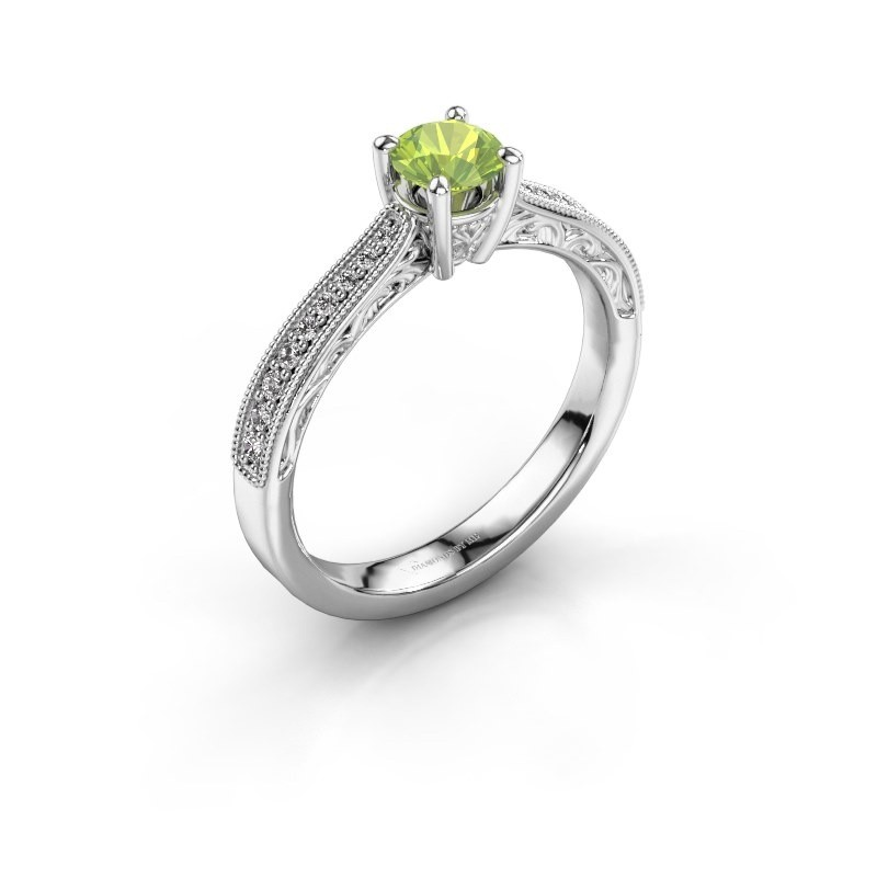 Belofte ring Shonta RND 585 witgoud peridoot 4.7 mm