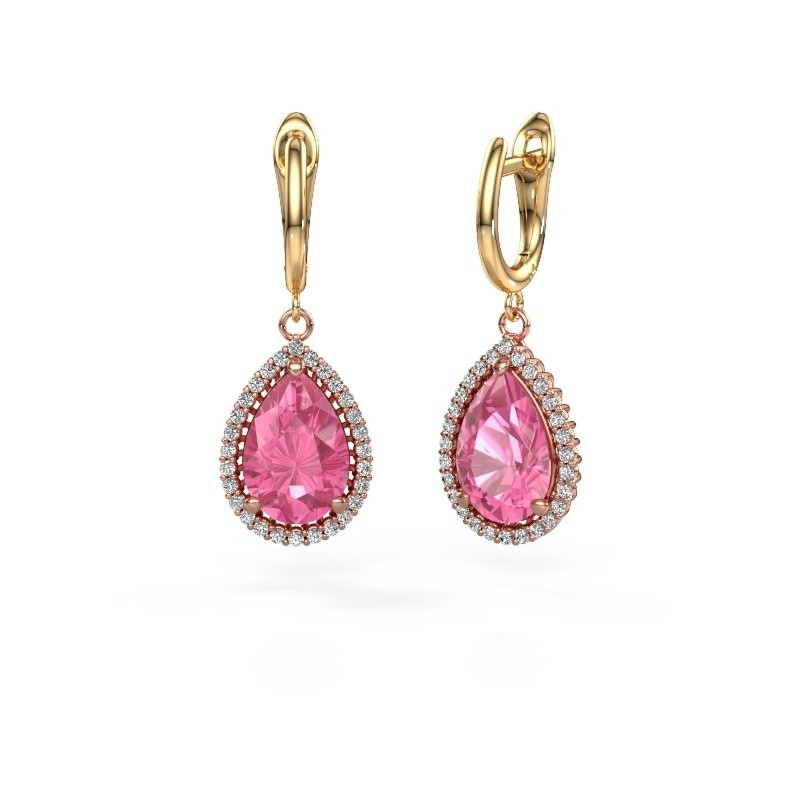 Oorhangers Tilly per 3 585 rosé goud roze saffier 12x8 mm