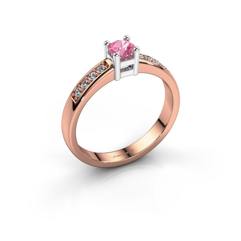 Engagement ring Eline 2 585 rose gold pink sapphire 3.7 mm