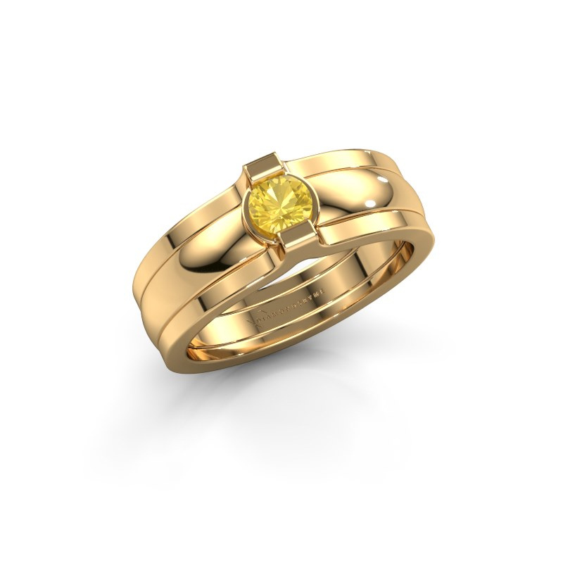 Ring Jade 585 Gold Gelb Saphir 4 mm