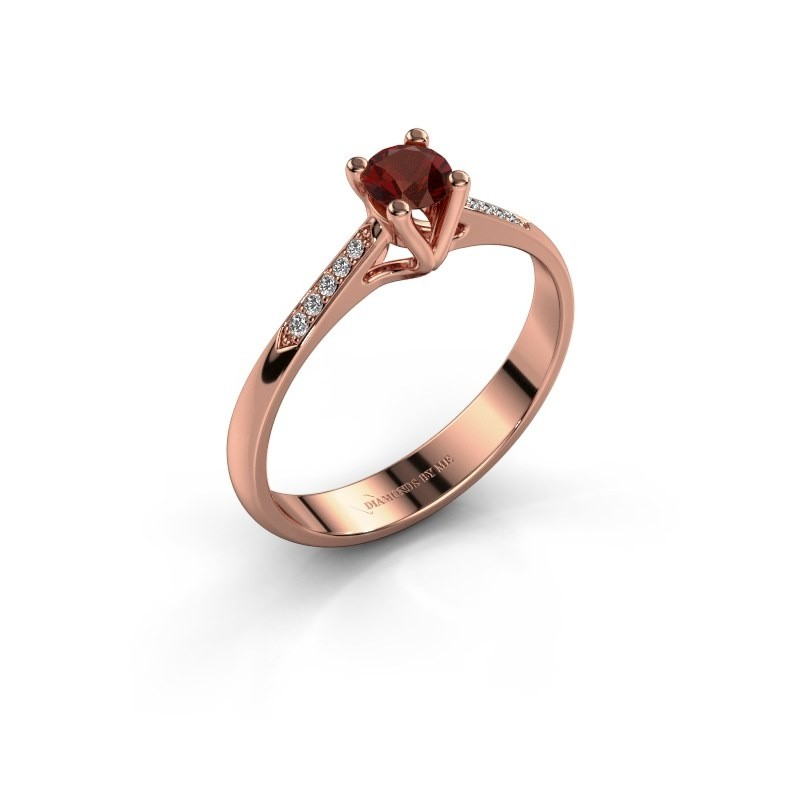Promise ring Janna 2 375 rosé goud granaat 4 mm