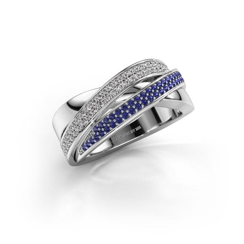 Ring Myra 585 witgoud saffier 1 mm