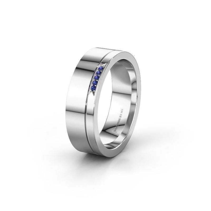 Huwelijksring WH0336L16A 950 platina saffier ±6x1.7 mm