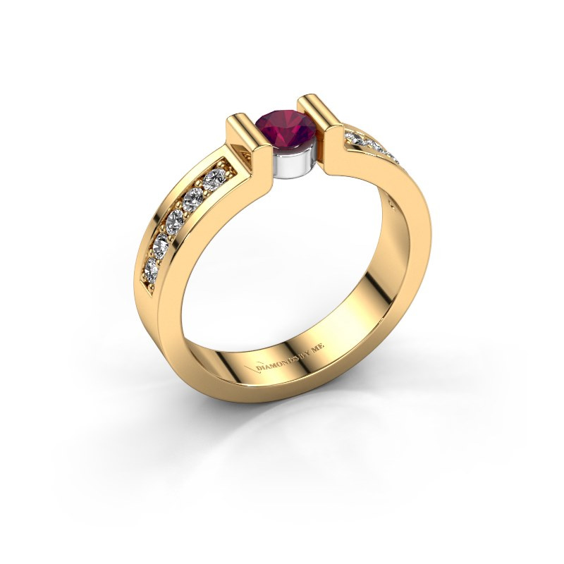Verlovingsring Isabel 2 585 goud rhodoliet 4 mm